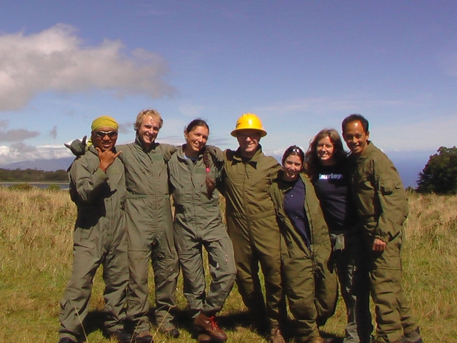 Tony, Nathan, Kirsty, John,me, Susan, Shan waiting for our heliop in supercool flight suits