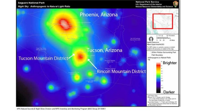 This figure shows light pollution in and around Saguaro National Park. Figure Credit: NPS Natural Sounds and Night Skies Divistion